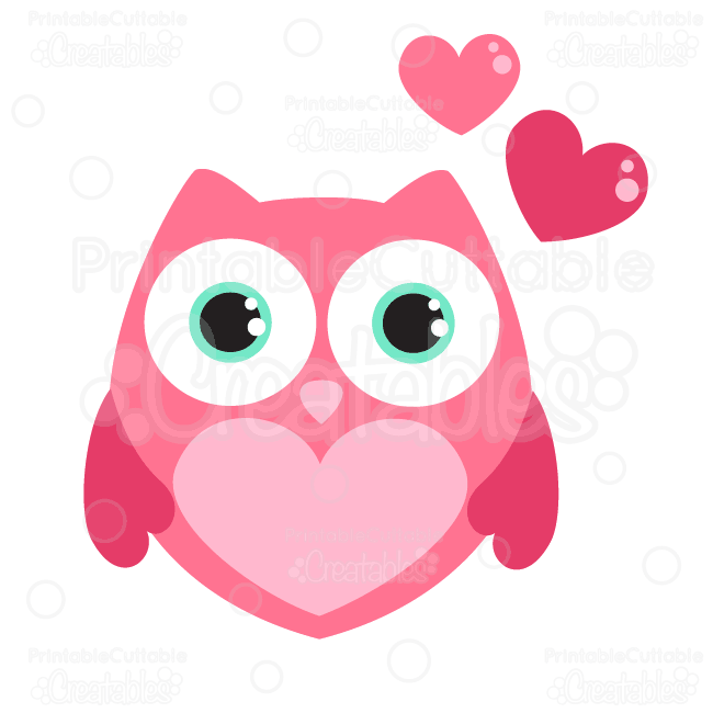 valentine hearts owl svg cutting file clipart cute owl cut file design for use with silhouette or cricut cutting machines