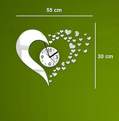 DIY décoratif moderne Miroir Horloge murale de coeur pour la maison