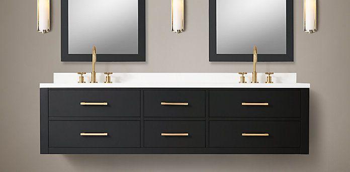 Hutton Floating Vanity Bath Collection Obsidian Brass RH Bath - Rh bathroom