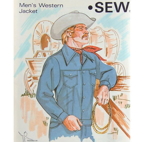 Men's Western Jacket Pattern  Cowboy Pattern  by SheFindsVintage