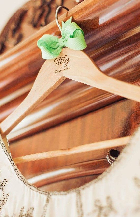 Personalised Bridesmaid Dress Hanger Gift Wooden by bespokelaseruk #personalised