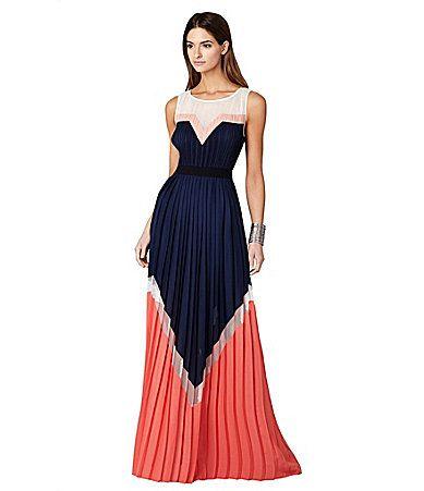 BCBGMAXAZRIA Kathrine Colorblock Pleated Maxi Dress #Dillards ...