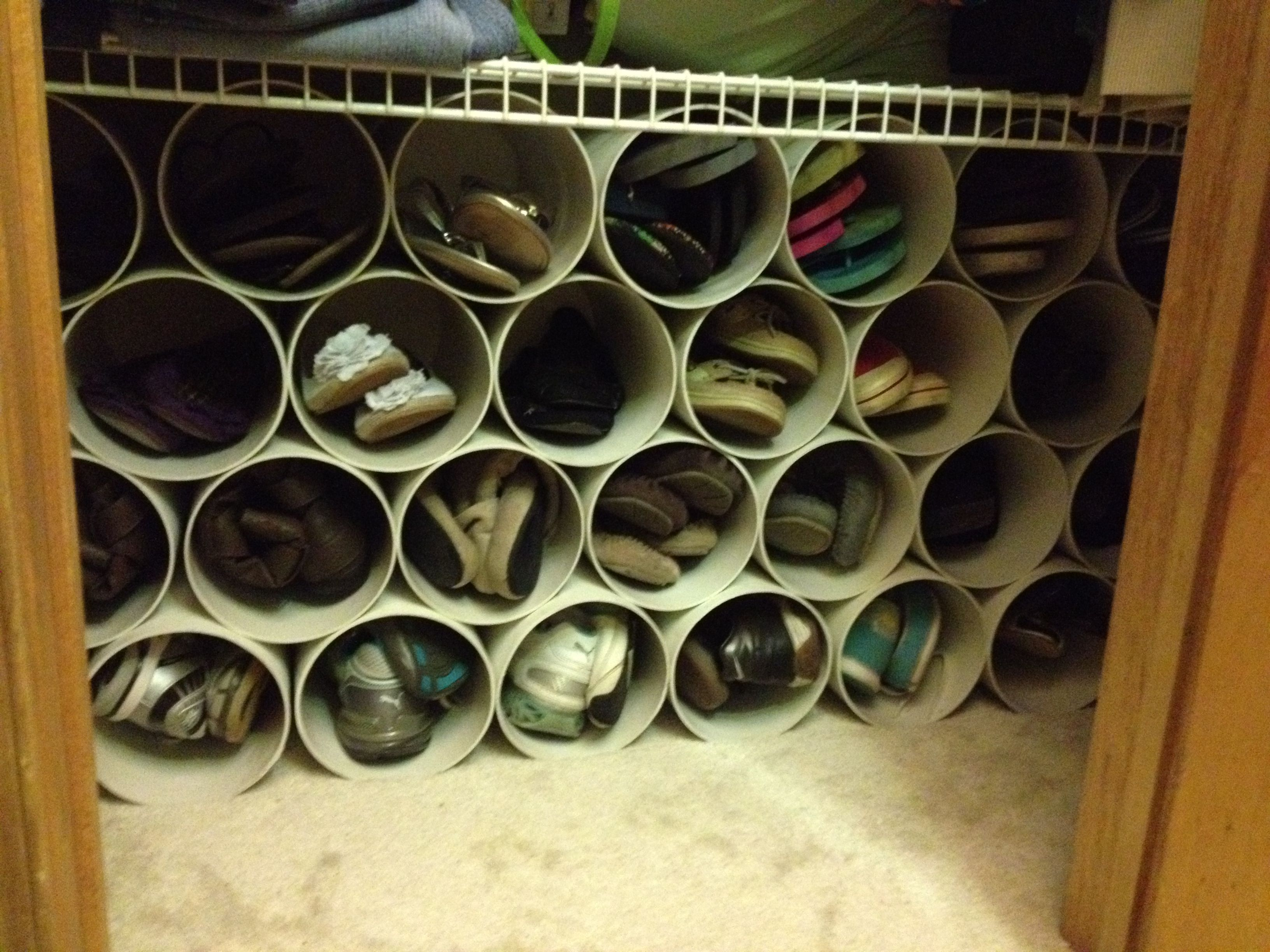 diy shoe rack made out of 6 pvc pipe cut each piece 11 to 12 inches long depending on your. Black Bedroom Furniture Sets. Home Design Ideas