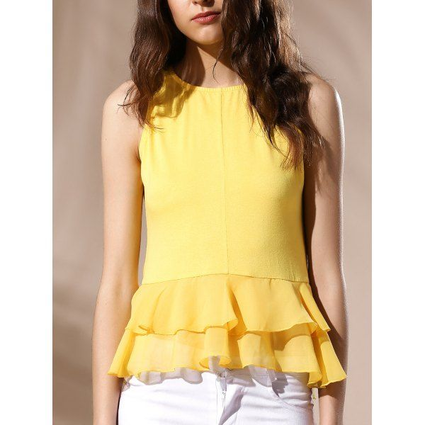 Sexy Women's Round Neck Ruffled Solid Color Top — 10.18 € -------Size: S Color: YELLOW