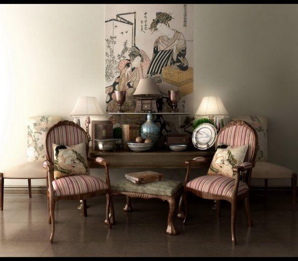 Classic living room decor with japanese art Decor Pinterest