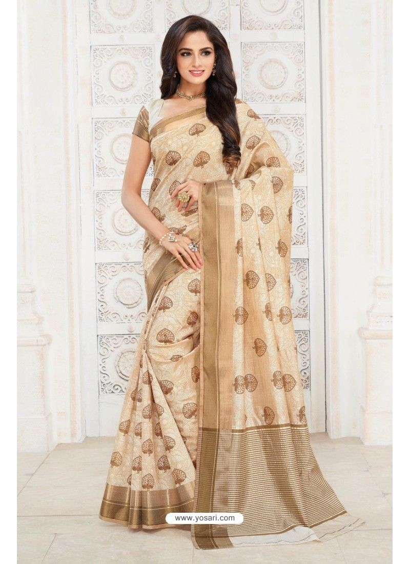 Off white tussar silk saree flawless off white tussar silk saree  silk sarees  pinterest