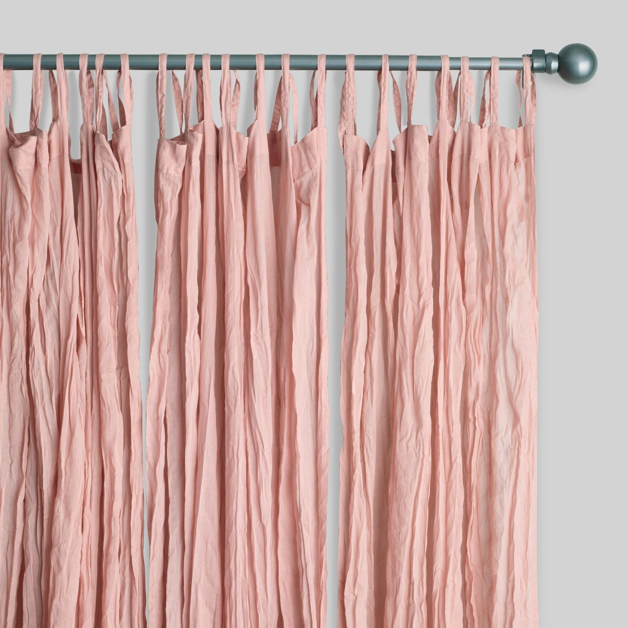Rideau Pour Chambre Ado blush cotton crinkle voile curtains set of 2: pinkworld