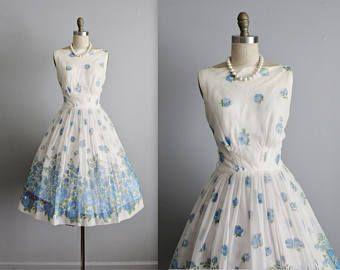 e8f9a53f4 Vestido de Gasa de 50 grandes venta     jardín de Gasa Floral azul de  Vintage 1950 fiesta vestido de Novia de baile S