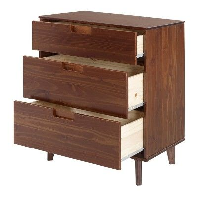 3 Drawer Mid Century Modern Wood Dresser Walnut Saracina Home