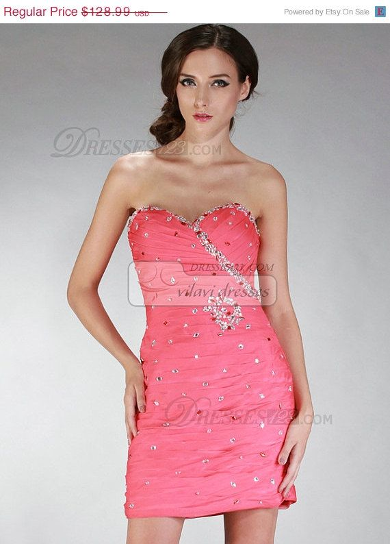 10% Off Awesome Taffeta Cocktail Dress Sheath/Column Sweetheart Strapless Short Crystal Homecoming Dresses