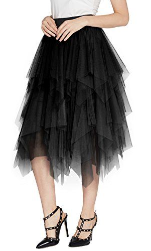 c4866b27d2 Urban CoCo Womens Sheer Tutu Skirt Tulle Mesh Layered Midi Skirt XL Black  >>> Click image for more details.