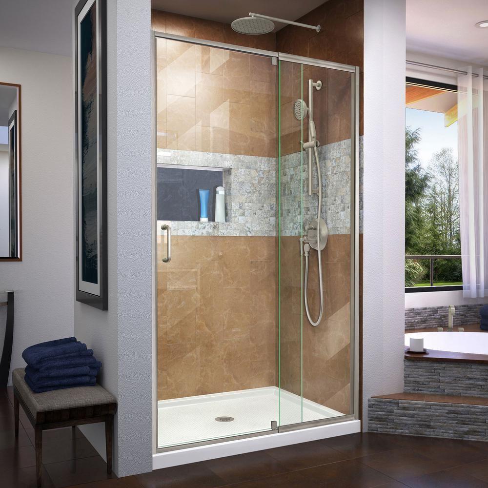 Dreamline Flex 42 In X 72 In Semi Frameless Pivot Shower Door In