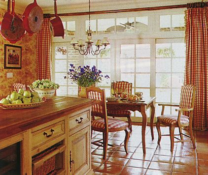 French country kitchen with cream cabinets, terracotta toile wallpaper  and terracotta checked fabric on chairs & windows