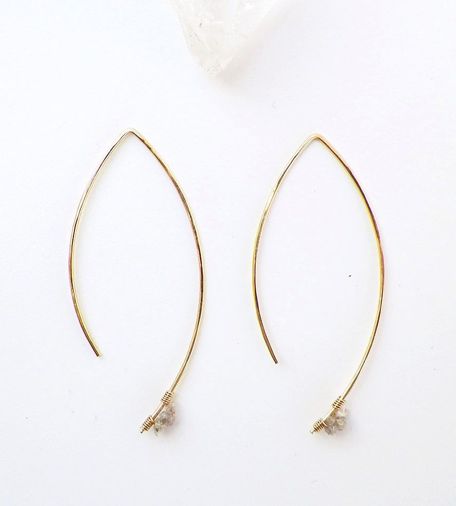 Raw Diamond Gold Earrings | Jewelry Earrings | Violetfly | Scoutmob Shoppe | Product Detail