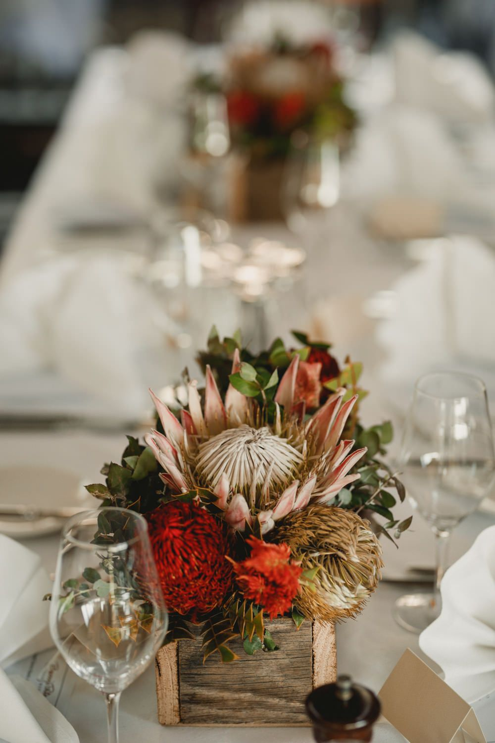 Rustic Table Centrepiece With Australian Native Flowers Christmas Table Centerpieces Cheap Wedding Decorations Wedding Table Flowers