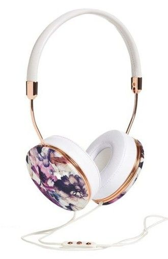 floral headphones technology holiday gift girly wishlist earphones printed headphones frends headphones hipster grunge music indie white