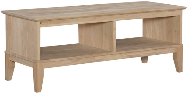 Parawood Shaker Divided Coffee Table Natural Unfinished