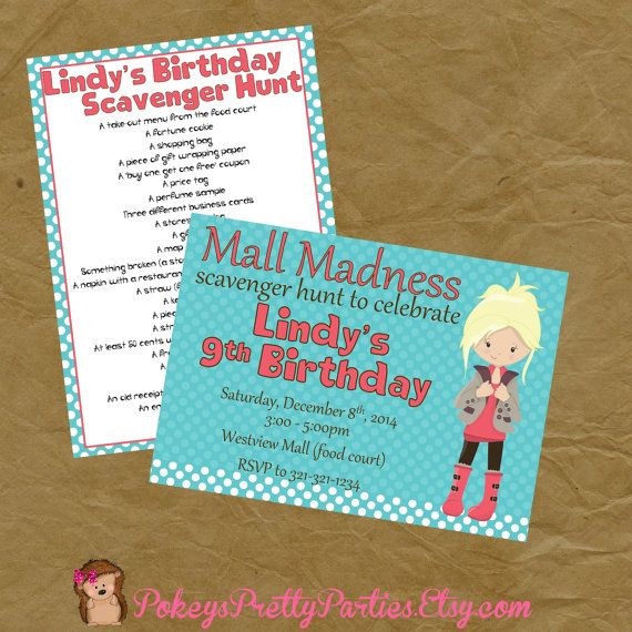 Mall scavenger hunt birthday party invitation invite scavenger items similar to mall scavenger hunt birthday party invitation invite on etsy filmwisefo Images