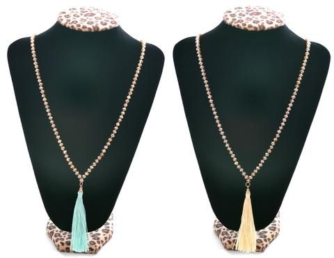 Tassel Glam Beaded Necklace
