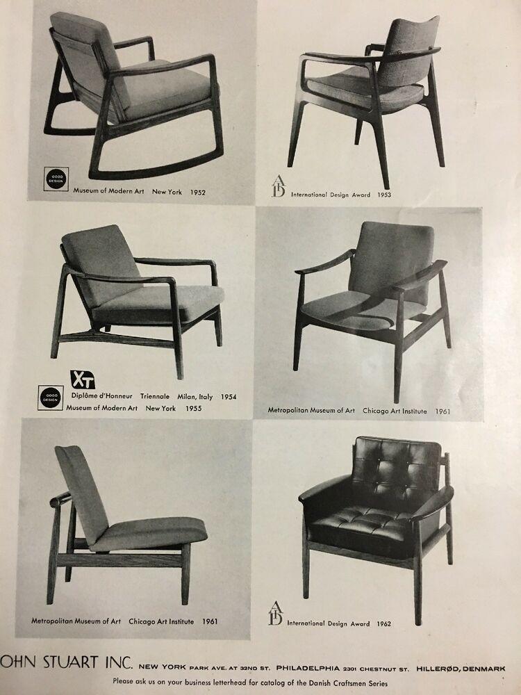 Vintage 1962 John Stuart Award Winning Danish Modern Chair Ad Mid