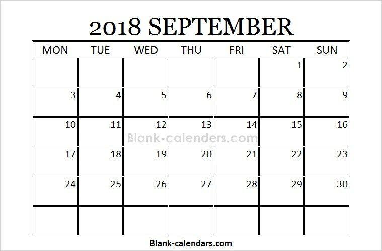 Blank Printable September Calendar 2018 October Calendar August