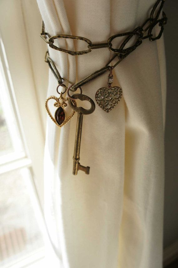 Reserved For Lisap102 Curtain Tie Back Antique Brass Chain Heart