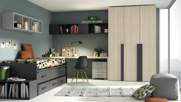 0 Amenagement Chambre Ado Garcon Tapis Gris Sol En Lino Beige Mur Vert Fonce Room Bedroom Setup Home Decor