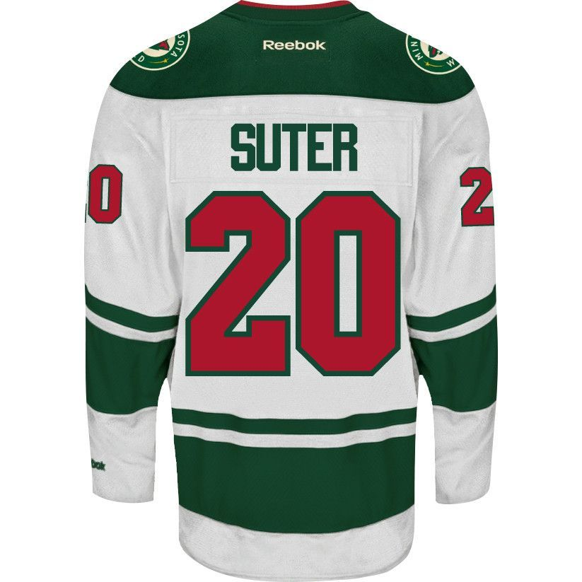 Show-off your favorite player with this Ryan Suter White Premier Road Jersey by Reebok. This jersey comes with the name and numbers on the back, and sleeves as well as the Wild crest on the front of t