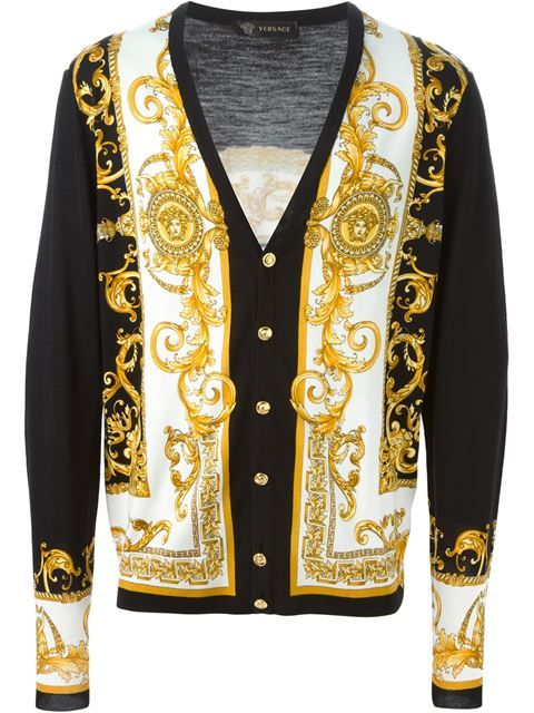 0f1dfb77a4 baroque print cardigan   Versace Sweater's in 2019   Versace ...
