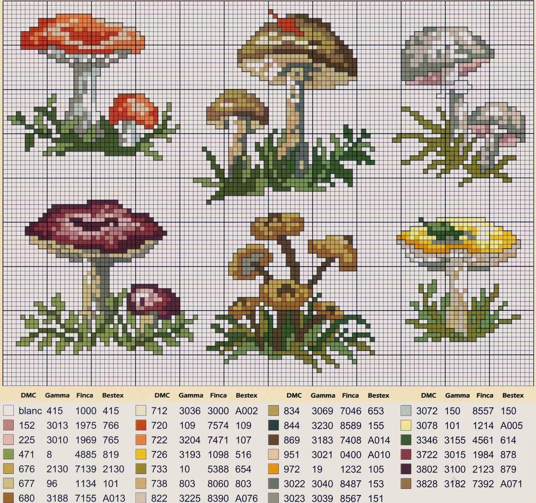 Схемы грибов крестиком