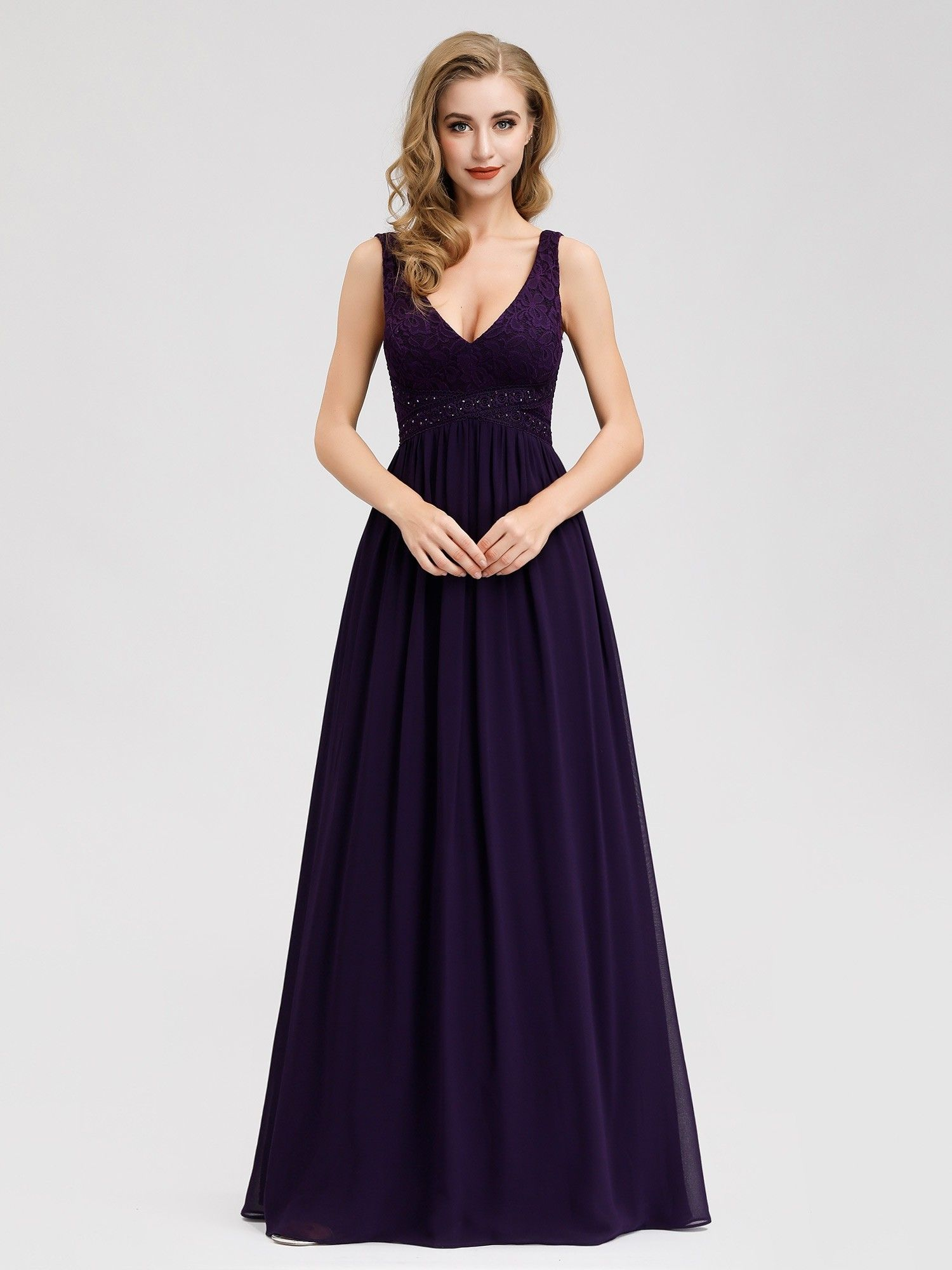 Sleeveless V Neck Long Purple Evening Dress [ 2000 x 1500 Pixel ]