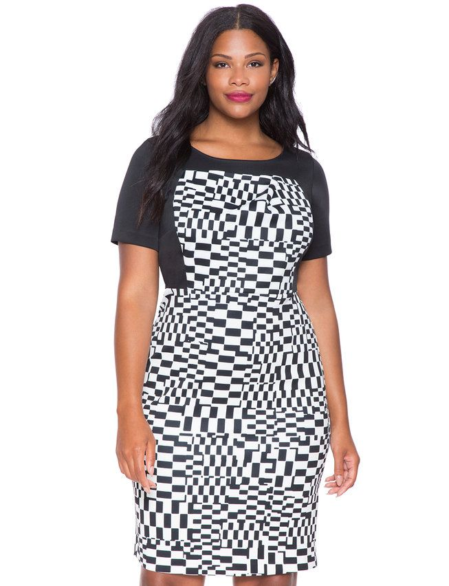 Printed Faux Bustier Dress Warped Checkerboard Passion For Fashion