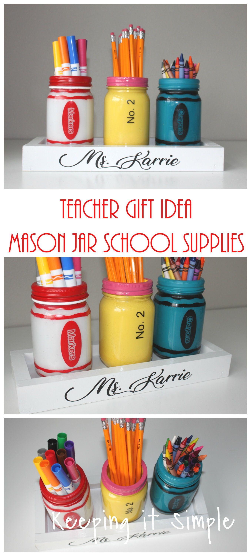 Teacher Gift Ideas- Painted Mason Jar School Supplies Holder #masonjarcrafts