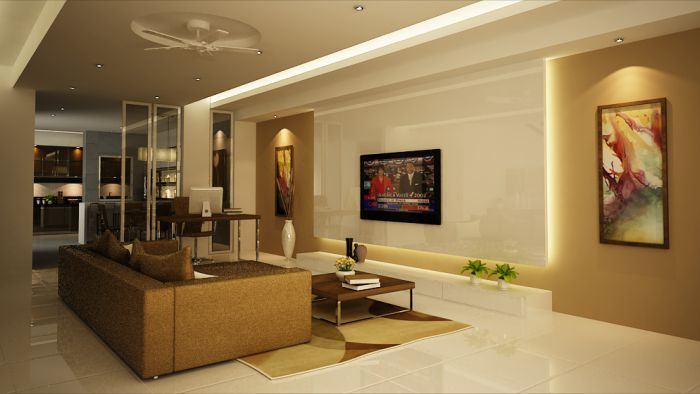 Great Modern Home Interior Architecture With Brown Sofas And Luxurious Floor