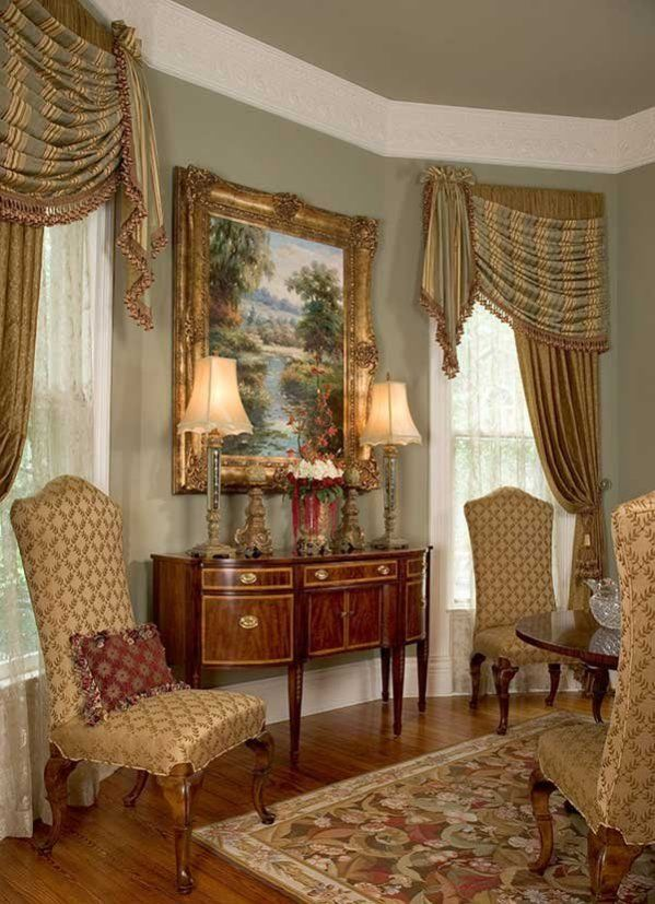 Traditional Victorian Living Room Furniture: Stunning Formal Window Treatment By Scot Robbins, Simply