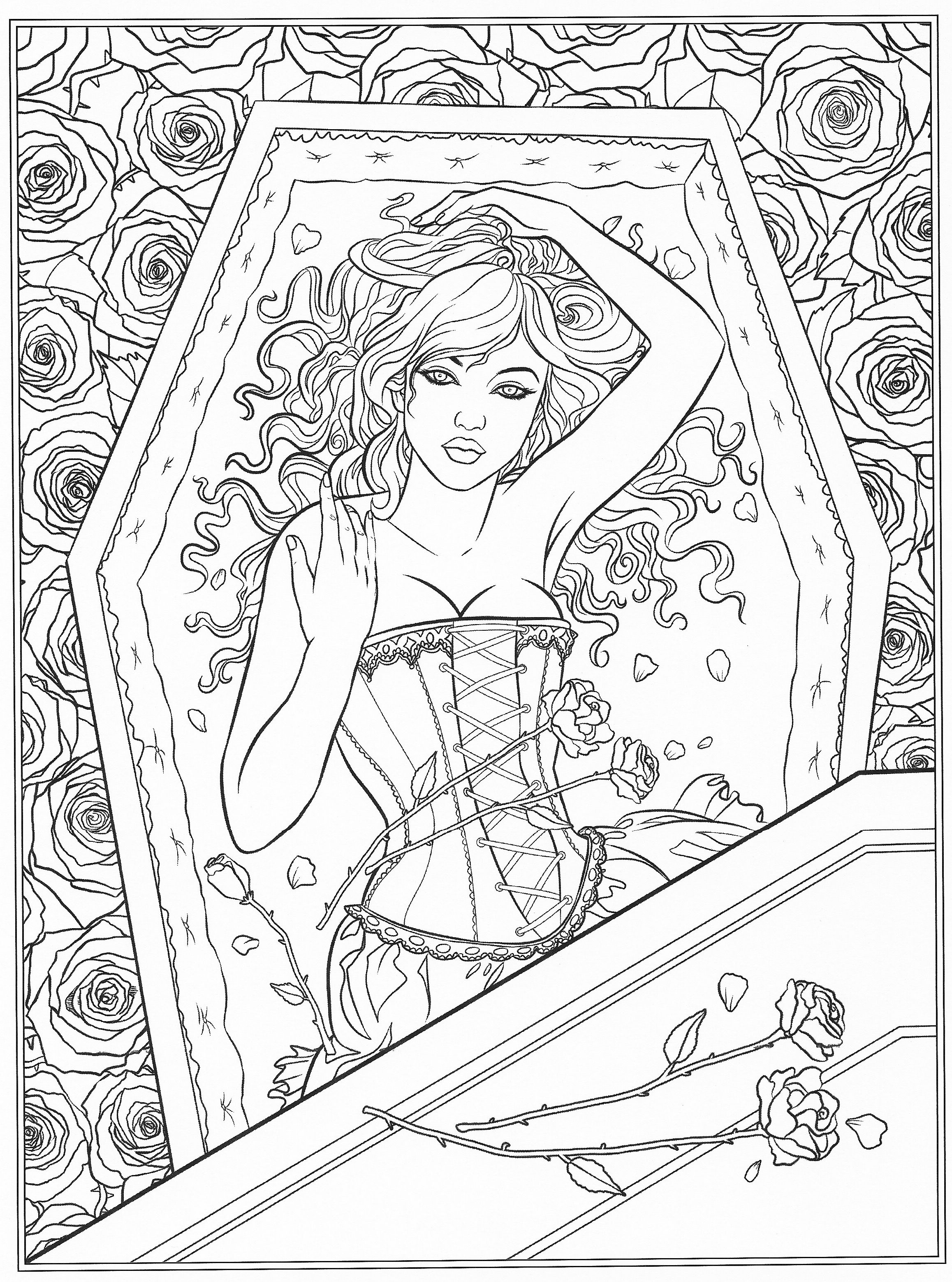 Free Coloring Pages For Adults Pinterest : Gothic coloring page Fantasy Coloring Pages for Adults Pinterest Coloring pages, Color and ...