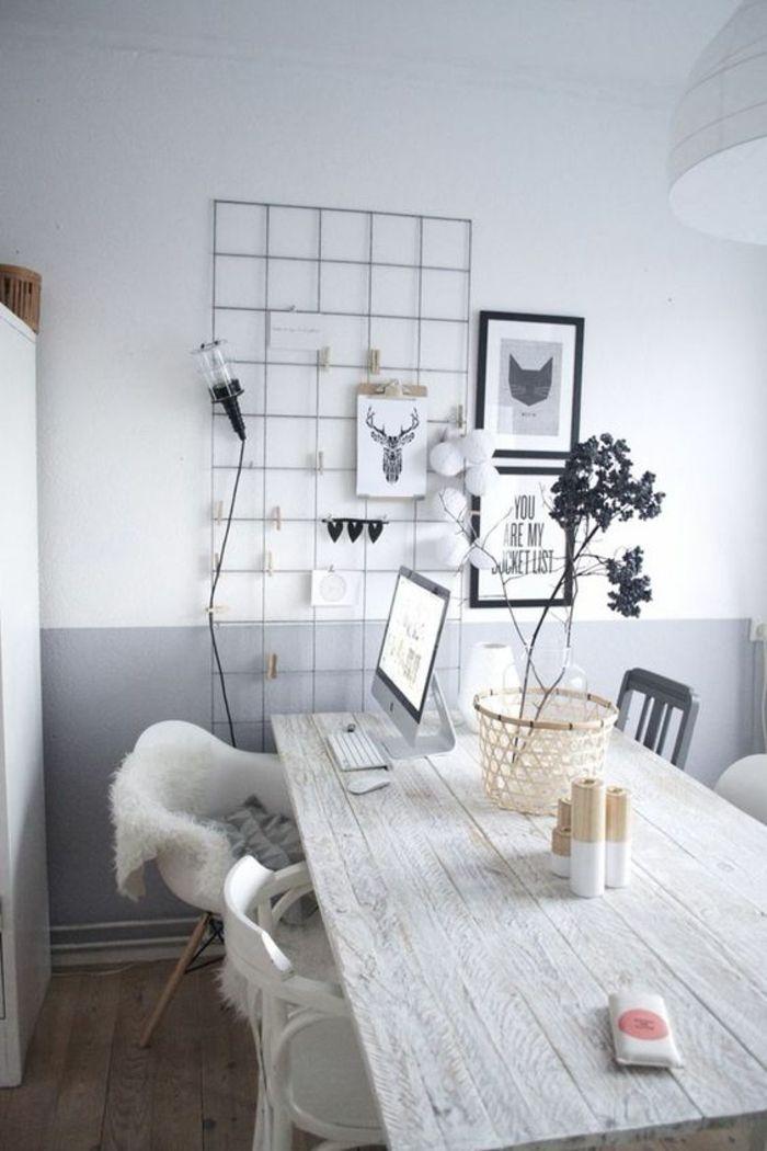 peindre une pice en deux couleurs mur double couleur blanc et gris - Peindre Une Chambre En Deux Couleurs
