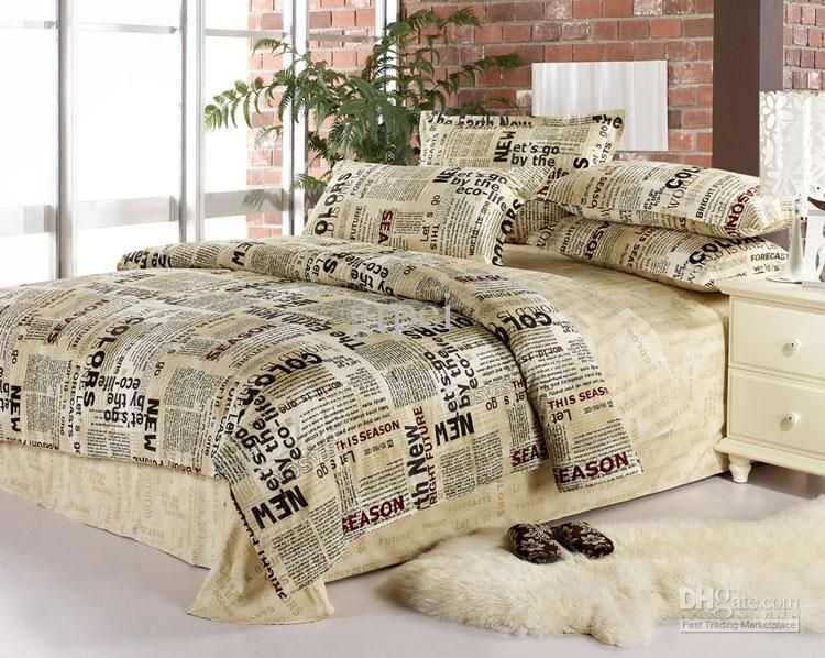 Queen Size Comforter Sets | Queen Size Newspaper Bedding Sets with ...