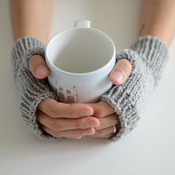 Coffee House MidLength Mitts  Fitted Fingerless by ToilandTrouble