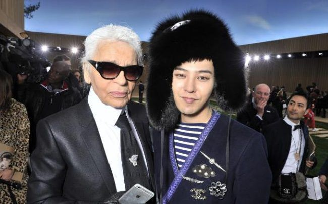 GDRAGON with KARL LAGERFELD #CHANEL S/S 2016 FASHION SHOW in PARIS 012616
