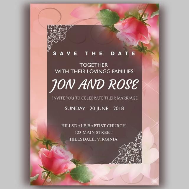 Romantic Wedding Invitation With Red Rose And Floral Frame Wedding Men Wedding Invitations Romantic Vintage Wedding Invitation Cards Flower Wedding Invitation