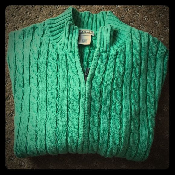 Ll Bean Cable Knit Cotton Sweater Beautiful Full Front Zip 100
