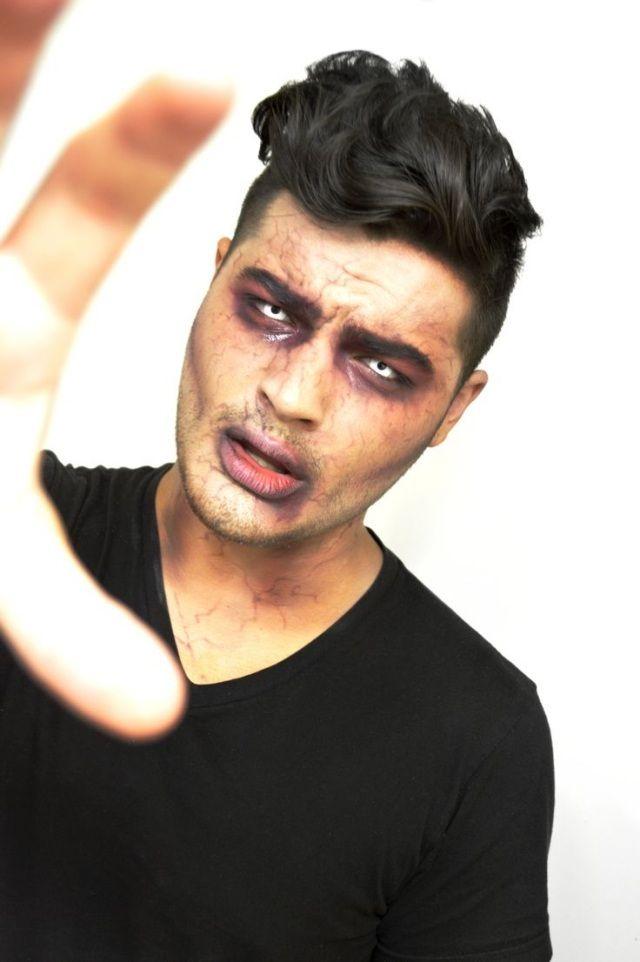 Halloween Schminke Ideen Manner Zombie Weisse Augenlinsen Venen