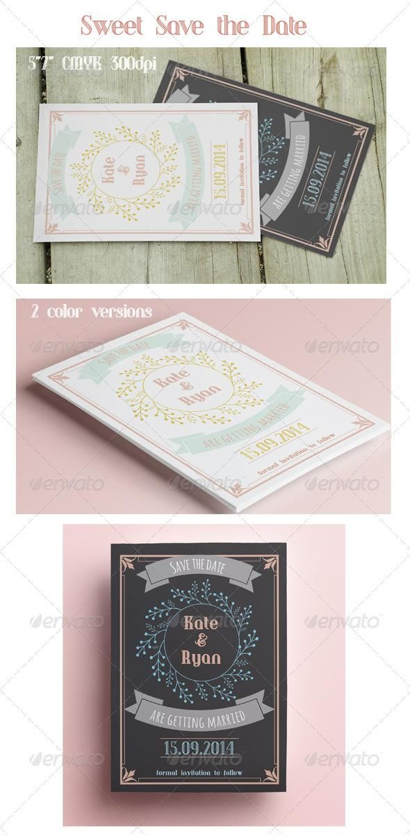 Sweet Save the Date  #template #cards #print #invites