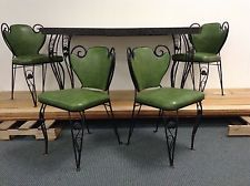 vintage retro wrought iron greengrey formica kitchen dining table w4 chairs - Green Kitchen Table