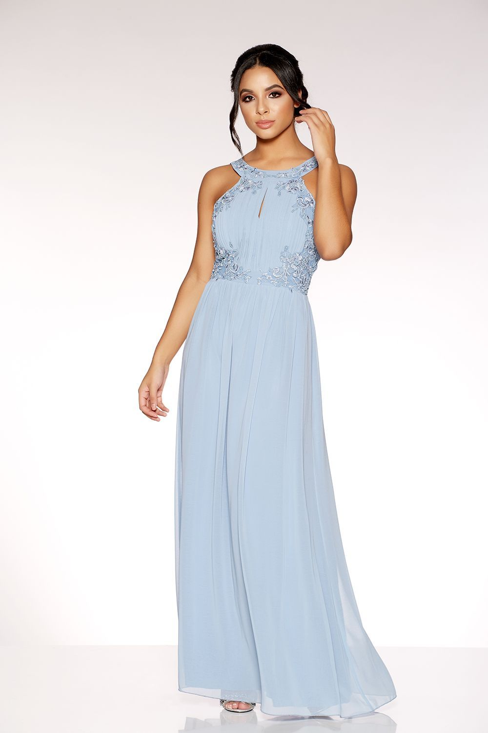 abdaa1b995c Powder Blue Chiffon Embellished High Neck Keyhole Dress