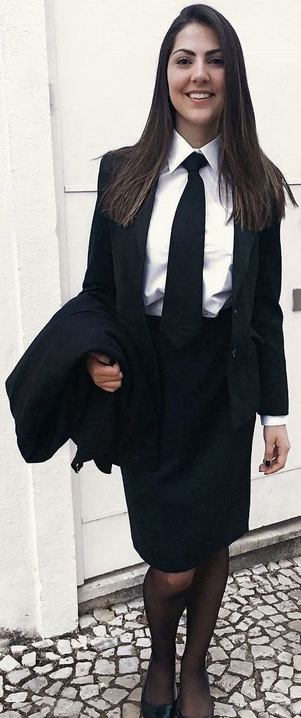 Girl Dressed Formal In Black Skirt Suit White Shirt And ...
