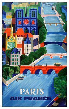 1960 Air France Paris Bridges Travel Poster By Retro Graphics Vintage Travel Posters Vintage Posters Vintage Poster Art