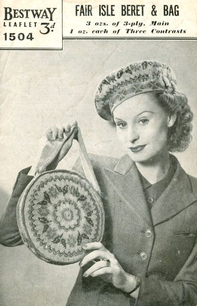 Fabulous vintage knitting pattern for fair isle beret and hand bag ...