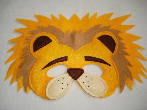Children's LION Felt Animal Mask by magicalattic on Etsy, $12.50